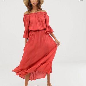 ASOS Off the Shoulder Orange Maxi Dress